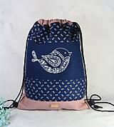 Batohy - modrotlačový batoh Lesana VTÁČIK AM ružový - 11898766_