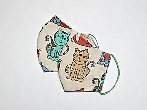 Rúška - Textilné rúško na tvár dvojvrstvové pre deti - šírka cca 10 cm - 11899101_