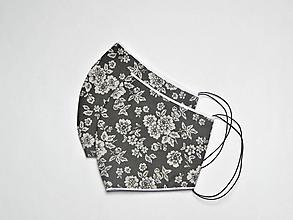 Rúška - Textilné rúško na tvár dvojvrstvové GREY FLOWERS - 11899335_