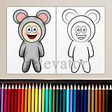 Hračky - Dieťa v kostýme - omaľovánka (myška) - 11901965_