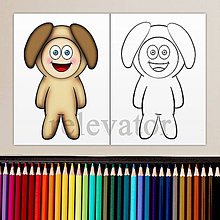 Hračky - Dieťa v kostýme - omaľovánka (psík) - 11901970_