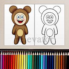 Hračky - Dieťa v kostýme - omaľovánka (macko) - 11901984_