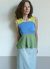 Topy - modro-žlto-zelené tielko - 11899483_