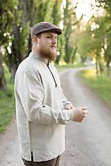 Oblečenie - Ľanová košeľa Mojmír prírodná - 11904342_