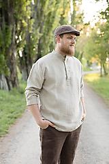 Oblečenie - Ľanová košeľa Mojmír prírodná - 11904347_