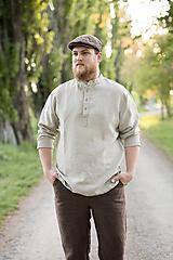Oblečenie - Ľanová košeľa Mojmír prírodná - 11904348_
