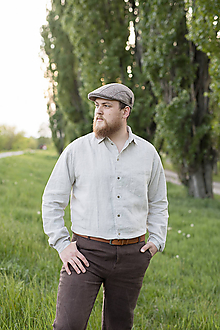 Oblečenie - Ľanová košeľa Leslav prírodná - 11904378_