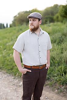 Oblečenie - Ľanová košeľa Leslav prírodná / krátky rukáv - 11904389_