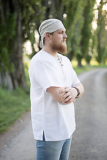 Oblečenie - Výletná košeľa s viazaním biela alebo prírodná (M - Béžová) - 11904439_