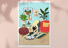 Obrazy - Česání - umělecký tisk, A4 - 11906111_