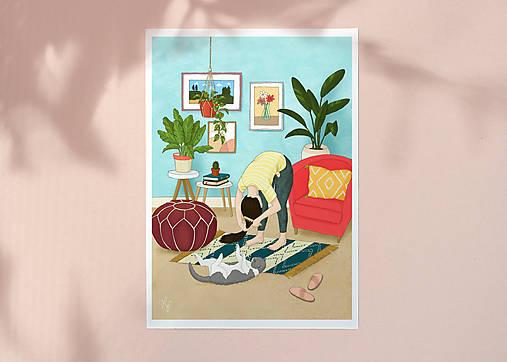 Česání - umělecký tisk, A4