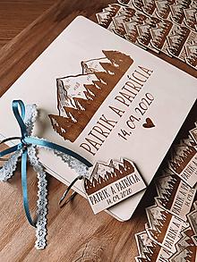 Papiernictvo - Svadobná kniha hostí, drevený fotoalbum -  Hory - 11904530_