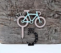 Dekorácie - tortové zápichy bicykel+číslo - 11902459_