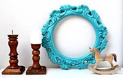 Zrkadlá - Tyrkysový rámček (zrkadielko) - 11904471_