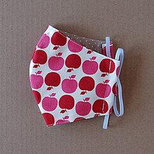 Rúška - Rúško dámske - S červenými jabĺčkami - 11905982_