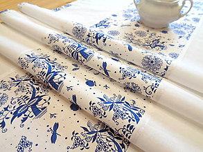 Úžitkový textil - Vidiecka štóla / obrus modrotlač cibuľak - 11903231_
