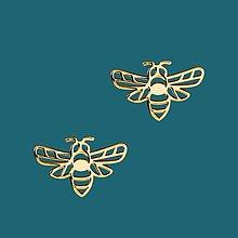 Náušnice - Náušnice včielky- chirurg. oceľ/pozlatené - 11902548_