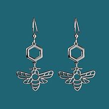 Náušnice - Náušnice včela 3 nerez/pozlátené - 11902660_