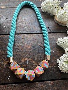 Náhrdelníky - Barevné korálky na tyrkysovém laně - 11904589_