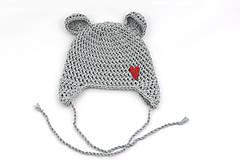 Detské čiapky - Šedá ušianka macko EXTRA FINE (srdiečko) - 11903741_