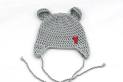Detské čiapky - Šedá ušianka macko EXTRA FINE (srdiečko) - 11903749_