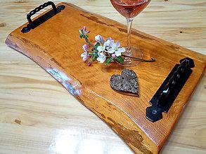 Nádoby - Drevený masívny podnos natur vintage  - 11905105_