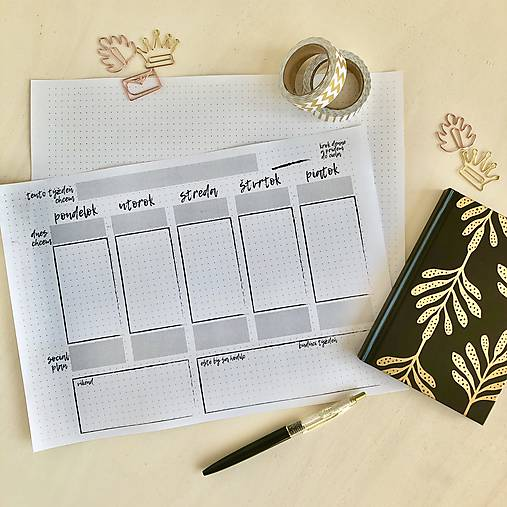 Týždenný plánovač A4 PDF