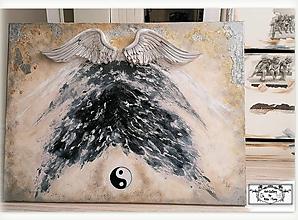 """Obrazy - Maľba s 3D krídlami, s Yin-Yang rovnováhou """"Strážny anjel domu"""":) SKLADOM - 11905668_"""