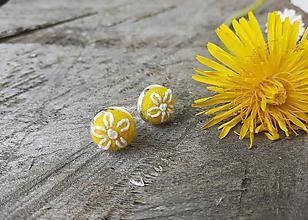 Náušnice - Žlté náušnice kvet - 11904820_