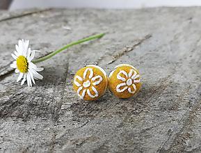 Náušnice - Horčicové náušnice kvet - 11904859_