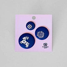 Brošne - Set odznakov modrotlač - 11904073_