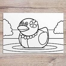 Hračky - Omaľovánka - gumená kačka (krásavica) - 11905300_