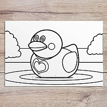 Hračky - Omaľovánka - gumená kačka (zamilovaná) - 11905301_