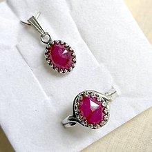 Sady šperkov - Vintage Faceted Ruby Ag925 Set / Strieborný vintage set s brúseným rubínom - 11908049_
