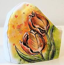 Rúška - RÚŠKO ručne maľované - Tulipány - 11907790_