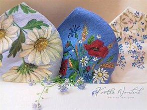 """Rúška - Ručne maľované ľanové rúška """" Lúčne kvietky a trávy """" - rôzne varianty - 11907435_"""