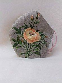 """Rúška - Ručne maľované ľanové rúška """" Lúčne kvietky a trávy """" - rôzne varianty (prírodný ľan + ruža) - 11908203_"""