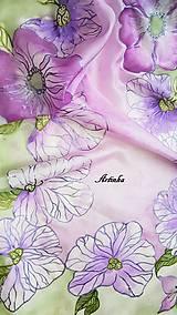 Šály - Šál hodvábny - lila orchidea - 11907867_