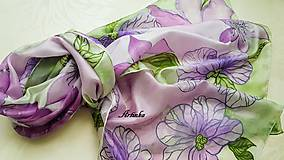 Šály - Šál hodvábny - lila orchidea - 11907868_