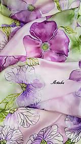 Šály - Šál hodvábny - lila orchidea - 11907870_