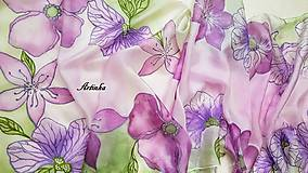 Šály - Šál hodvábny - lila orchidea - 11907871_