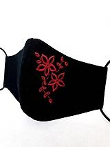 Čierne rúško 2-vrstvové s výšivkou Červené kvety