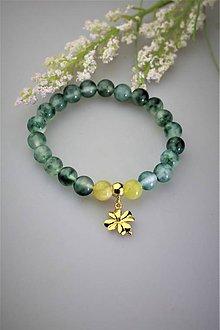 Náramky - opál a jadeit náramok štvorlístkový - 11907728_