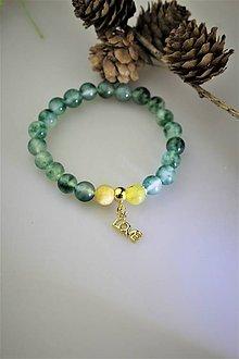 Náramky - žltý opál a jadeit náramok LOVE - 11907967_