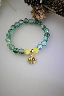 Náramky - žltý opál a jadeit náramok strom života - 11910105_