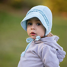 Detské čiapky - Mušelínový čepiec s volánmi light blue - 11910888_