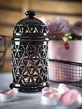 Svietidlá a sviečky - Aromalampa černá - KVĚT ŽIVOTA - 11908095_