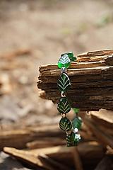 Náramky - Náramok lístočky zelené - 11910257_