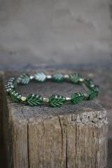 Náramky - Náramok lístočky zelené - 11910259_