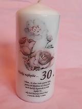 Svietidlá a sviečky - Sviečka ručne zdobená k 30 . narodeninám - 11909115_